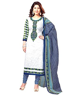 3a0c5bca78 Look N Buy smooth women s white cotton regular wear dress material   Amazon.in  Clothing   Accessories