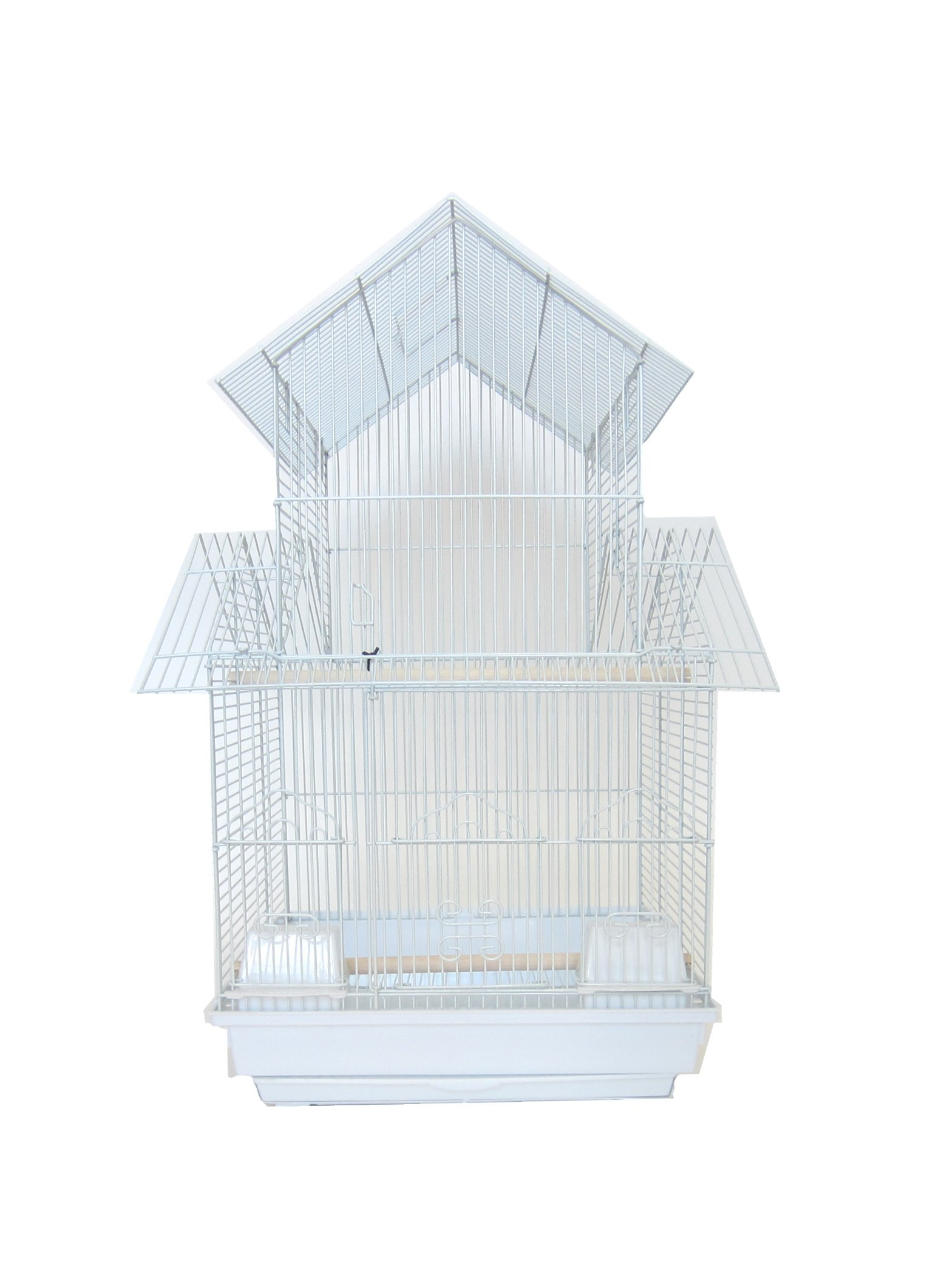 YML 18-Inch by 14-Inch Small Pagoda Top Bird Cage, White by YML
