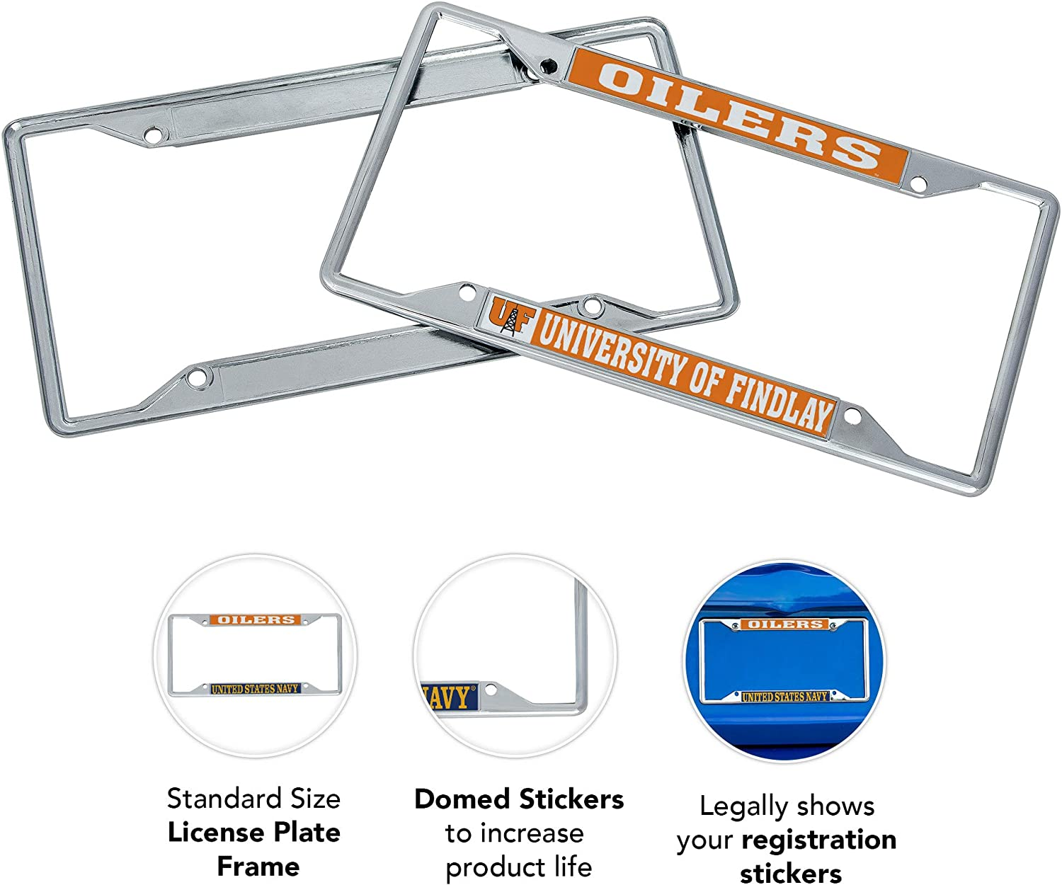 Desert Cactus University of Findlay UF Oilers NCAA Metal License Plate Frame for Front or Back of Car Officially Licensed Mascot