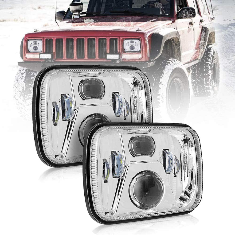 NSLUMO 5x7 Led Headlight 110W 6000K High Low Beam Led Sealed Beam Headlamp 2pcs for Jeep Cherokee XJ H6054 7x6 Led Headlights Silver W/ H4 Plug H5054 6054 6053 6052