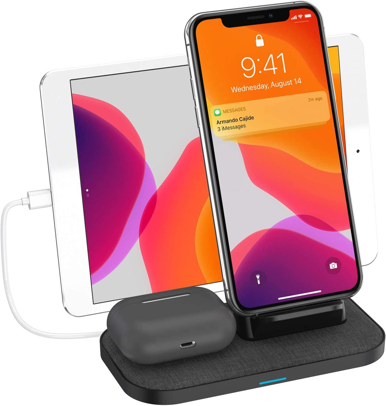 Wireless Charger, 3 in 1 Wireless Charging Station for iPhone Airpods Pro/2 and ipad/iwatch Galaxy Note Buds+, Wireless Charging Stand for iPhone 11/11Pro Max/XS Max/XR/XS/X/8,Galaxy S20/ Note 10/S10