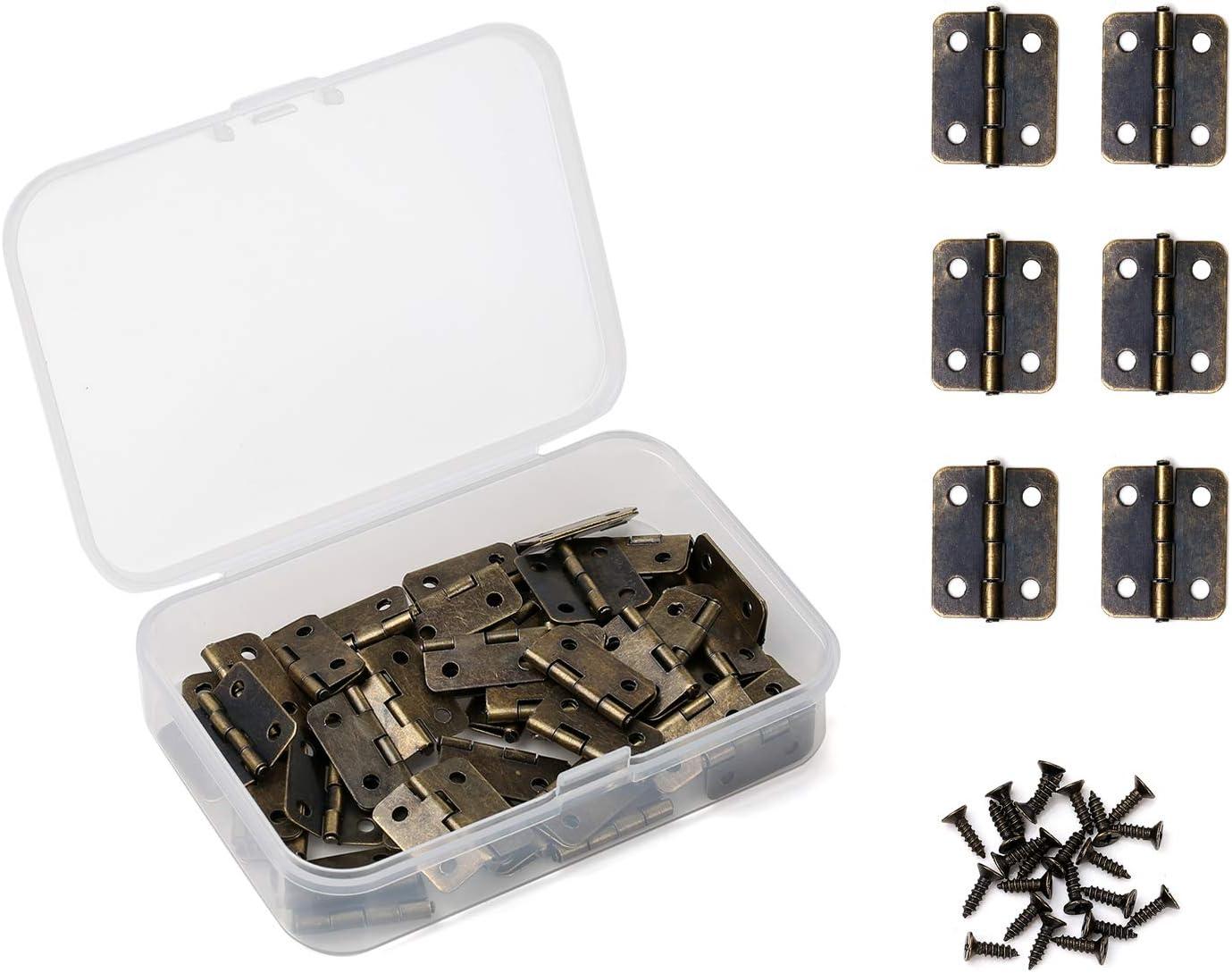 Juland 50 PCS Bronce antiguo Mini Bisagras Bisagras retro con Tornillos de repuesto para Caja de madera Cofre para joyas Gabinete de accesorios de bricolaje (18 x 16 mm)