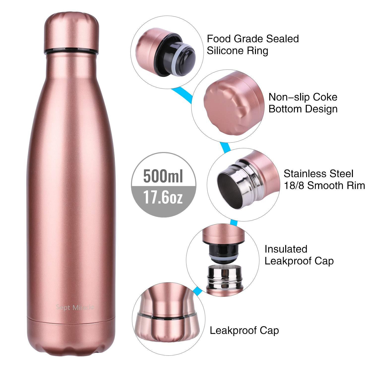 Details about  /17oz Insulated Water Bottle Double Wall Vacuum Stainless Steel Leak-proof Kettle
