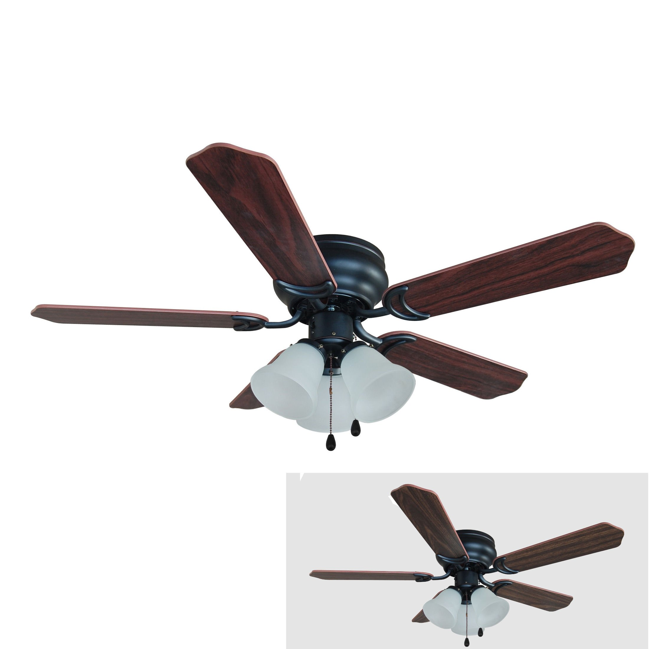 Hardware House 17-5067 Oil Rubbed Bronze 42-Inch Flush Mount Ceiling Fan with Light Kit, Cherry or Walnut Blades