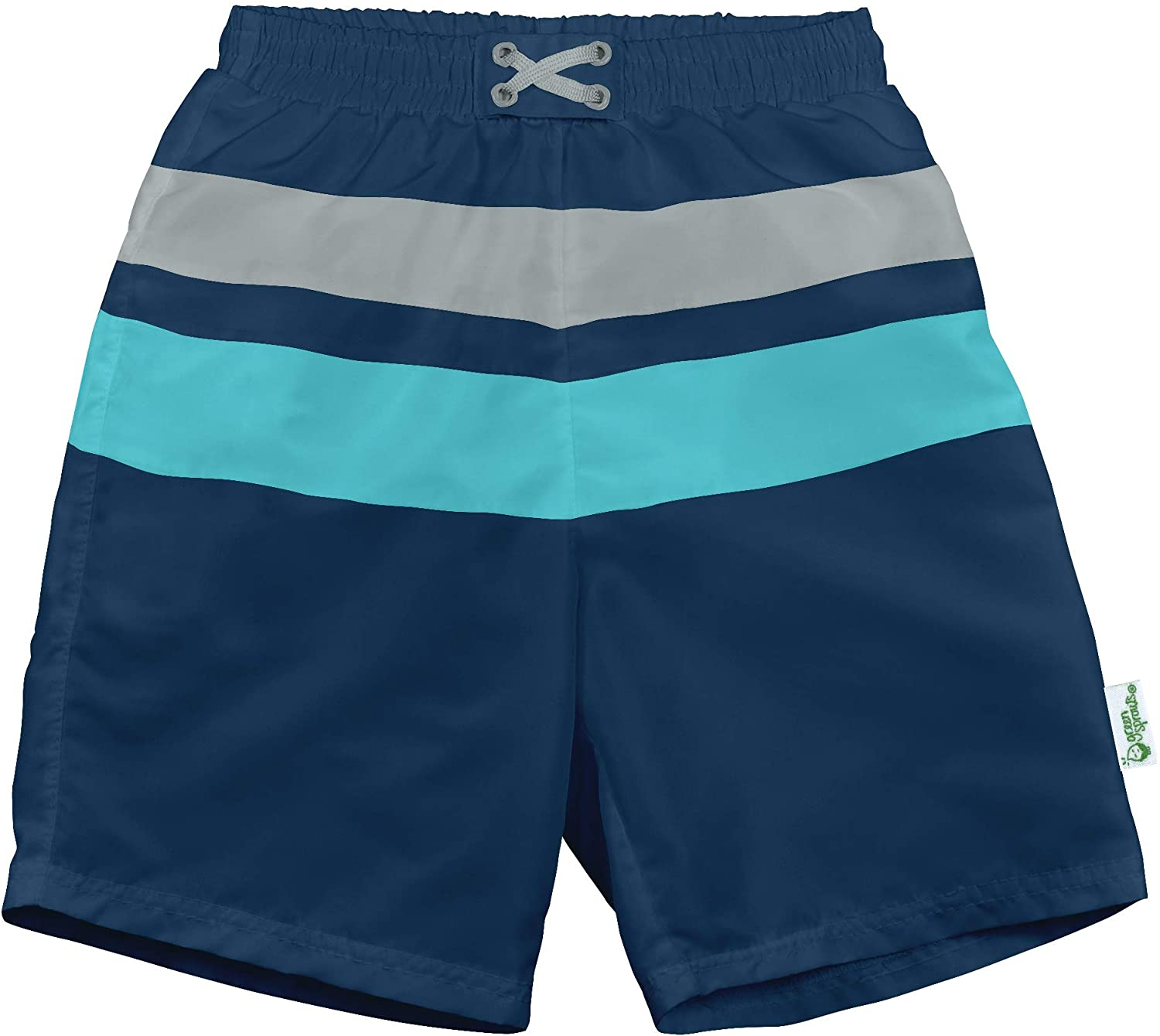 i play by green sprouts baby-boys Trunks with Built-in Reusable Swim Diaper,Navy//Aqua,12mo