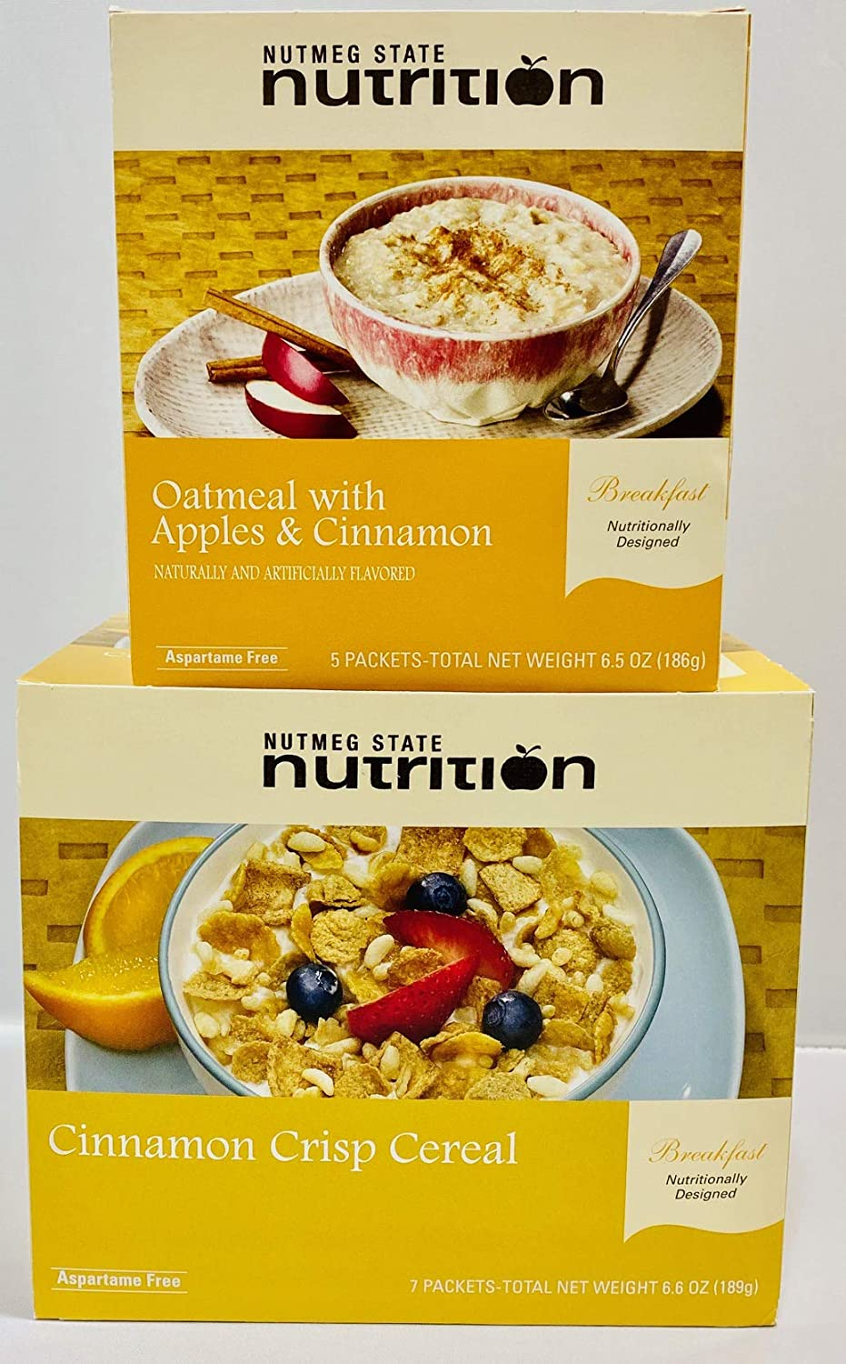 Nutmeg State Nutrition Diet high Protein Breakfast Bundle (Apple and Cinnamon Oatmeal and Cinnamon Crisp Cereal) (12 Servings) - | Healthy Nutritious|, Low Calorie, Low Fat, Low Carb, Low Sugar