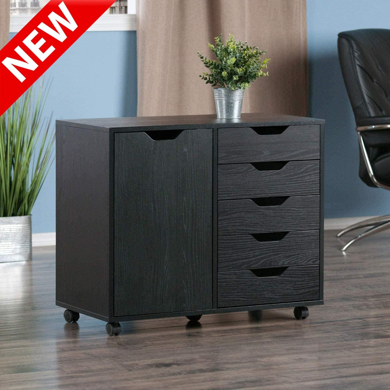 Mobile Lateral File Cabinet with 2-Compartment Cabinet Black Aooppec Updated Version Thicken Wood 5-Drawer Filing Cabinet with Wheels Printer//Scanner Stand Organizer Cabinet for Home Office