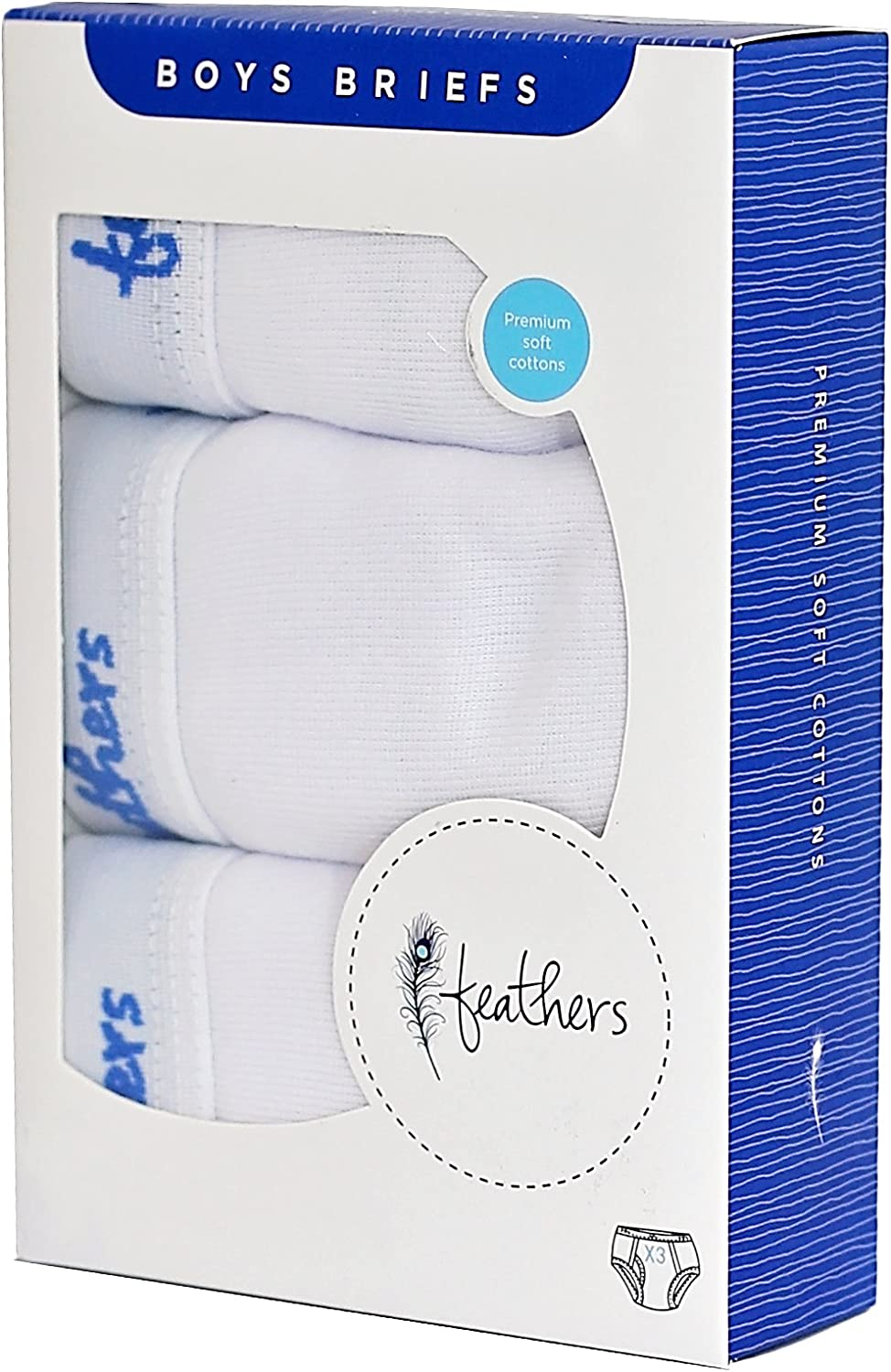 Feathers Boys Solid White Snug Fit Tagless Briefs Underwear 3//Pack