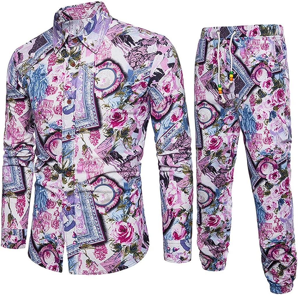 Pants Sets Emerayo Mens Blouse Mens Ethnic Plus Size Floral Print Button Down Long Sleeve Slim Fits Linen Shirt