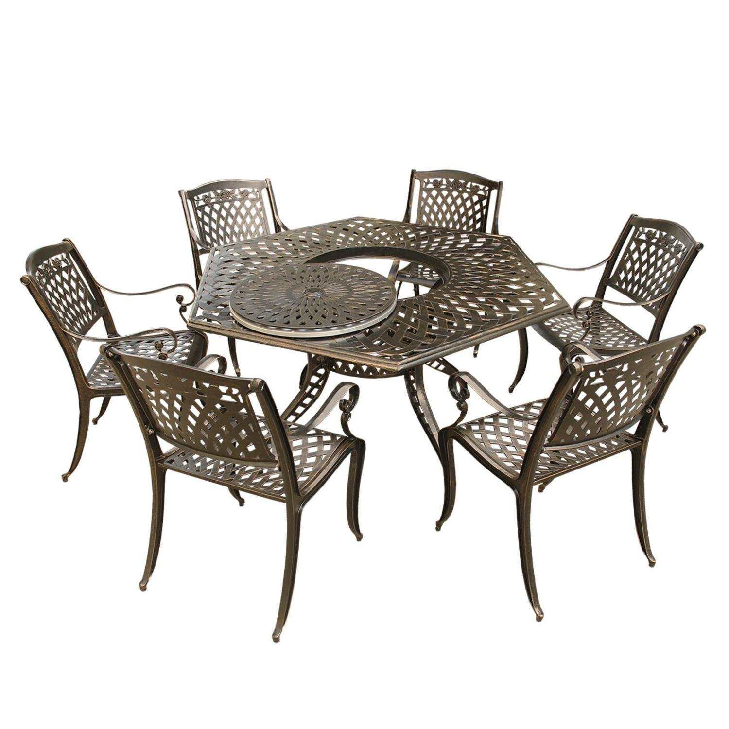 Amazon.com: 7 pc. Ornate Rose Traditional Outdoor Mesh ...