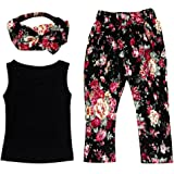 Little Girls' 3 Pieces Outfit Set Black Tank Top, Flowers Prints Leggings, Headband
