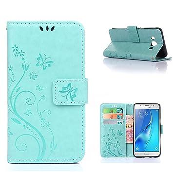 MOONCASE Galaxy J7 2016 Funda Flor Carcasa Cuero Tapa Cover para Samsung Galaxy J7 (2016) J710 Bookstyle Cartera TPU Case con Función de Soporte Teal: ...