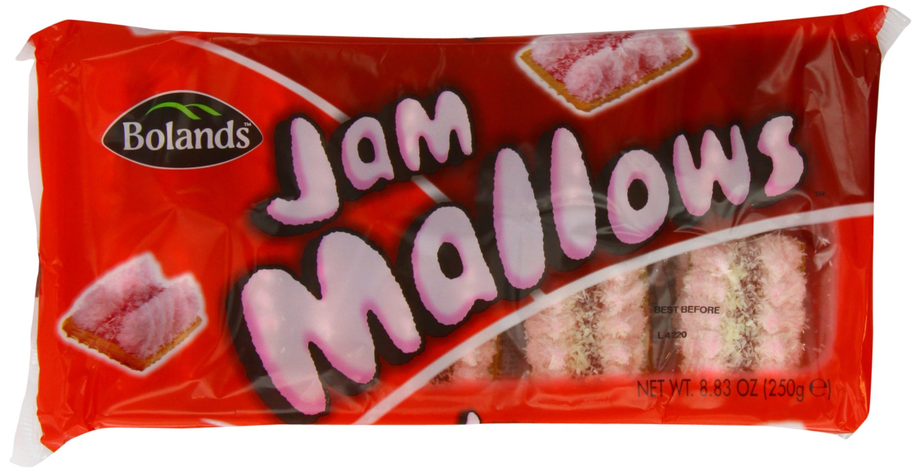 Bolands Jam Mallow Biscuits 250 g (Pack of 6)