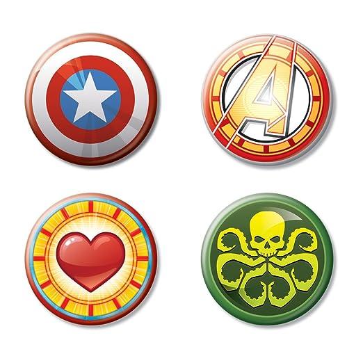 2721a474d5 Ata-Boy Marvel Comics Logos Emoji Assortment Set of 4 1.25 quot   Collectible Buttons