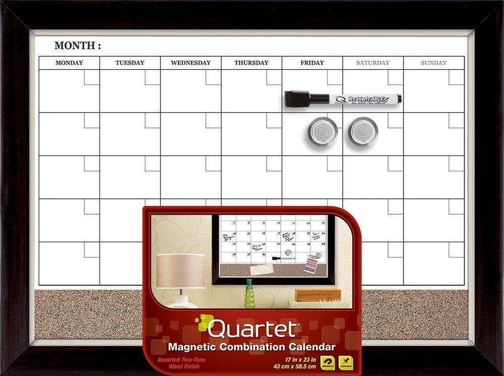 Quartet Dry Erase Calendar Board, Planner, Magnetic, Combo White Board & Cork Board, 17 x 23, Wood Finish Frame (22476) 17 x 23 ACCO Brands