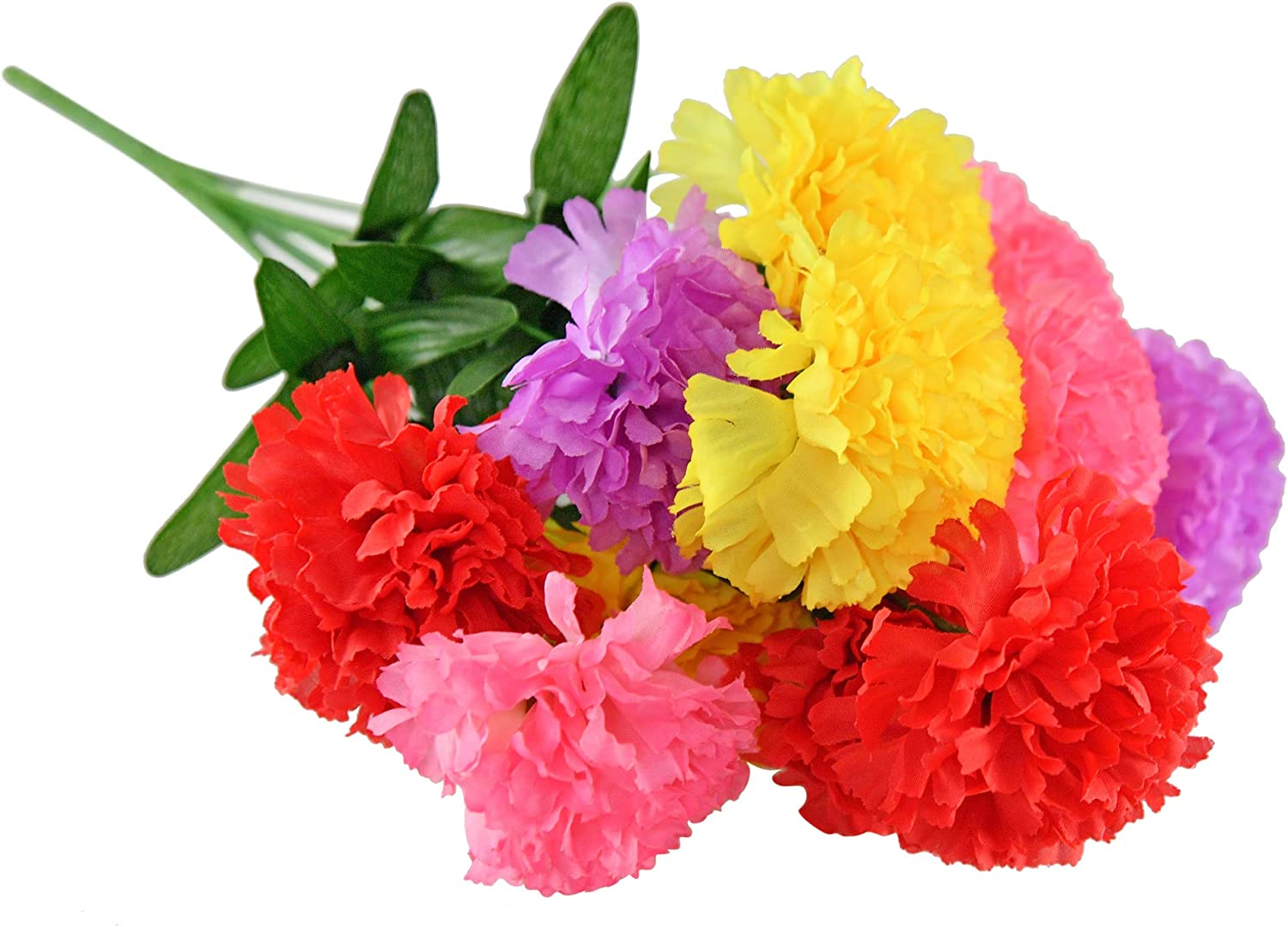 """Home-X Fabric Carnation Bouquet, Artificial Flowers with Stems for Home Wedding Décor, 12 Heads, Home Party Decoration-Multicolor-17""""L"""