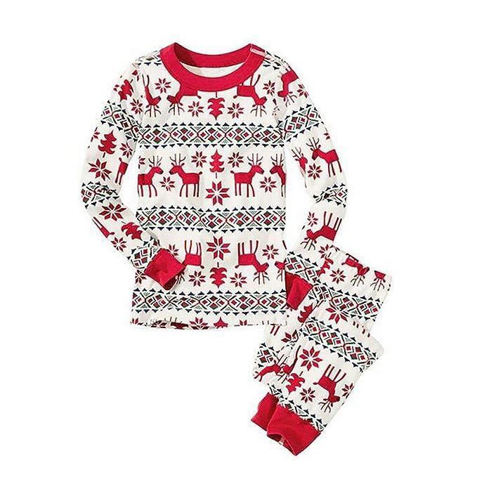 Hzjundasi Navidad Familia Pareo Conjuntos de pijamas Ciervo Algodón Manga larga Ropa de dormir Nightwear Para