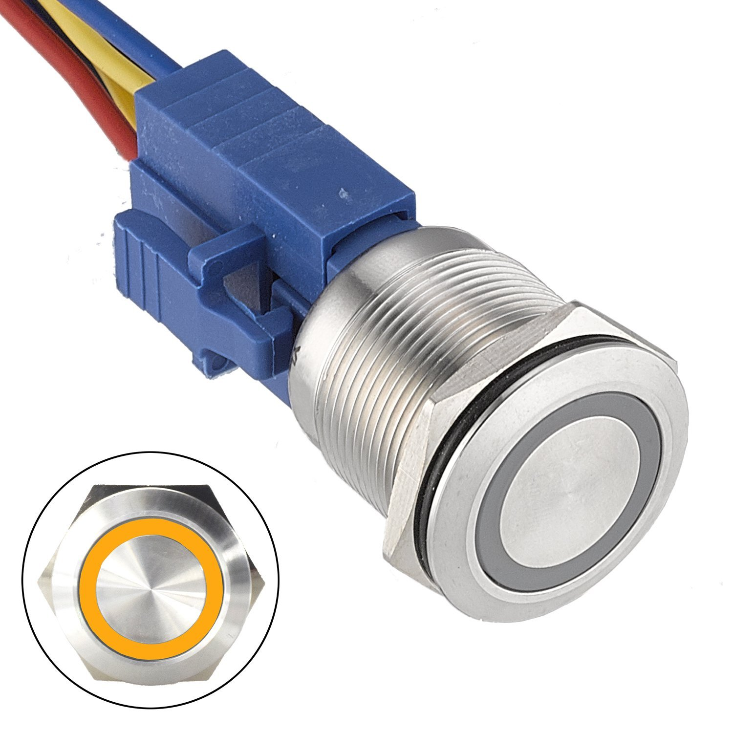 API-ELE [3 year warranty] 22mm Latching Push Button Switch 12V DC Angel Eye LED Waterproof Stainless Steel Round Metal 1NO1NC Self-locking for 7/8'' Mounting hole (Yellow)