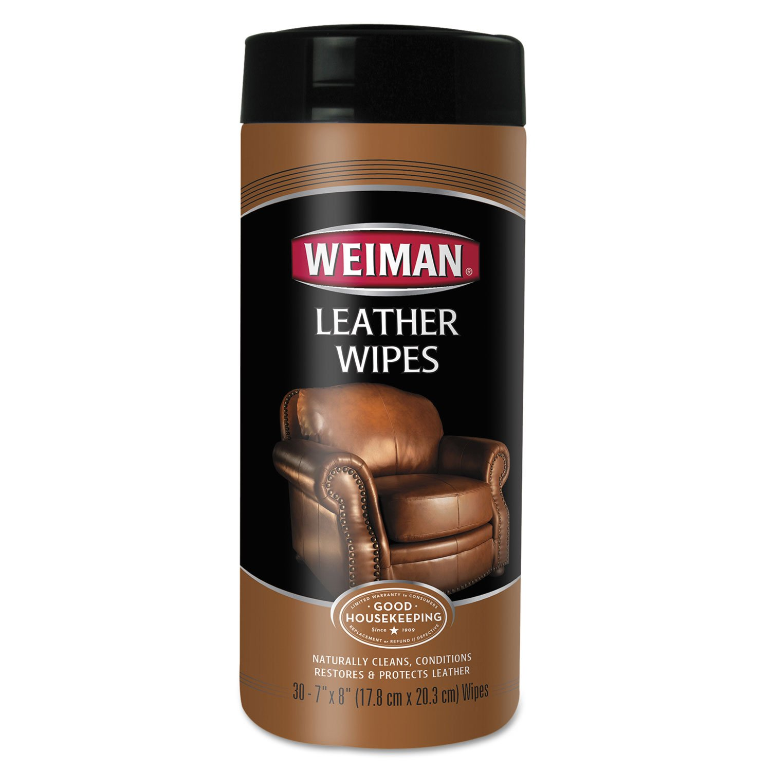 WEIMAN WHOLESALE PRICER Leather Wipes, 7 X 8, 30/Canister, 4 Canisters/Carton, New