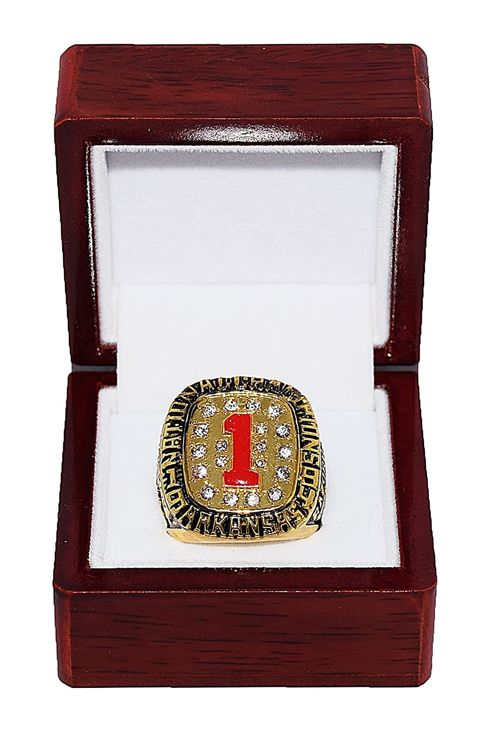ARKANSAS RAZORBACKS (John Engskov) 1994 NCAA NATIONAL SEC CHAMPIONS (First Title) Vintage Rare & Collectible High-Quality Replica NCAA Basketball Gold Championship Ring with Cherrywood Display Box Trackside Autographs
