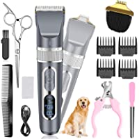 Dog Clippers 2 in 1, Cordless Pet Clippers with Small Trimmer Blade, Eocean 13 Pcs Pet Dog Grooming Kits with Detachable…