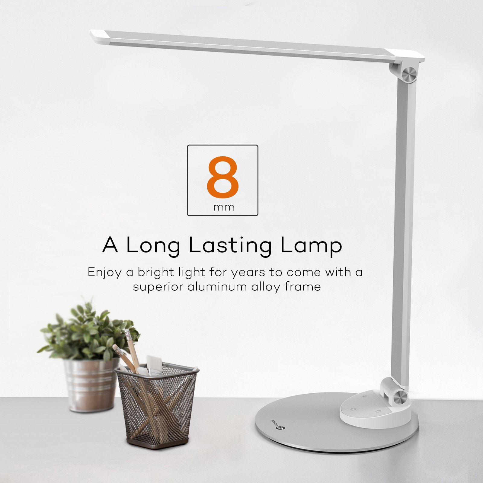 TaoTronics LED Desk Lamp with USB Charging Port, Eye- care Dimmable Lamp, 5 Color Temperatures with 5 Brightness Levels, Touch Control, Metal, Official Member of Philips EnabLED Licensing Program by TaoTronics (Image #2)