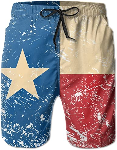 Mens Texas Retro Flag Summer Breathable Swim Trunks Beach Shorts Board Shorts Large