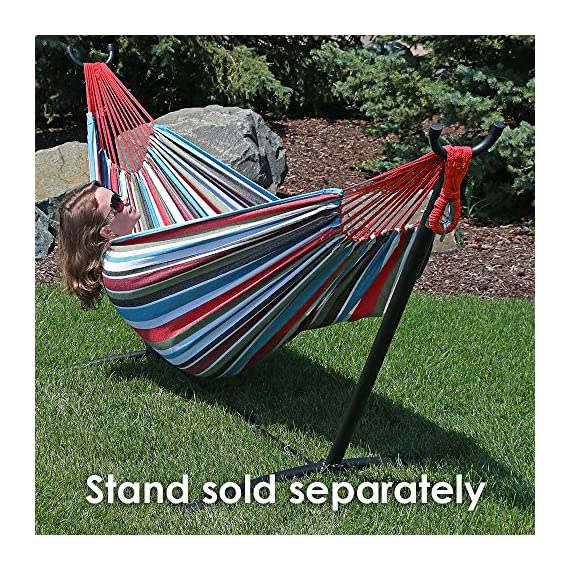 Sunnydaze Brazilian Double Hammock Extra Large, 2 Person Portable Woven Bed with Carrying Bag - for Indoor or Outdoor Patio, Backyard, and Porch (Cool Breeze) - LARGE SIZE: Brazilian hammock is 140 inches long x 60 inches wide. Bed size is 96 inches long x 60 inches wide with a 450 pound weight capacity, making it a cozy two person hammock. COMFORTABLE DESIGN: Heavy duty hammock is made from cotton material to ensure the hammock is comfortable and strong. The size of the hammock makes it equally enjoyable for people all of heights. RELAXING FEATURES: Outdoor hammock will wrap you in a snug cocoon, making it perfect if you want to enjoy the weather, read a book, or take a nap. - patio-furniture, patio, hammocks - 71gca2OhwRL. SS570  -