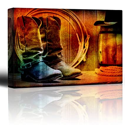 eb6a149034c046 Amazon.com: wall26 - Colorful Cowboy Still Life - Boots, Rope and Hat - -  Wood Grain Vintage Feel - Country Living Decor - Canvas Art Home Decor -  16x24 ...
