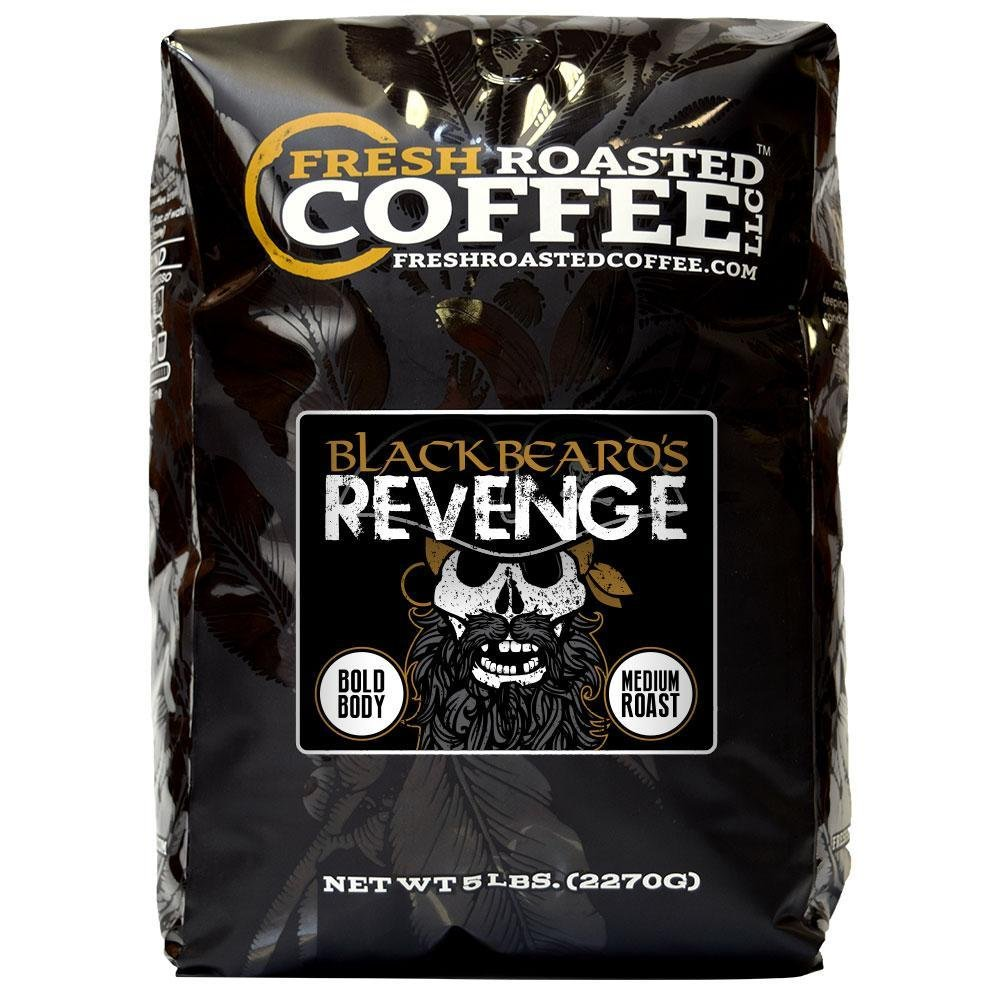 Blackbeard's Revenge Coffee, Artisan Blend, Whole Bean Bag, Fresh Roasted Coffee LLC. (5 LB.)