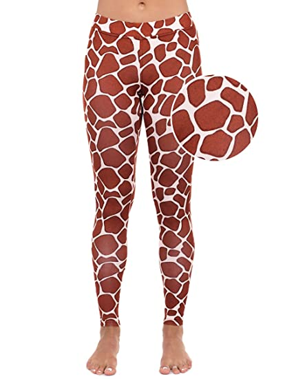 58af459a4ebd7 Giraffe Leggings - Giraffe Animal Print Tights for Women: Amazon.co.uk:  Clothing