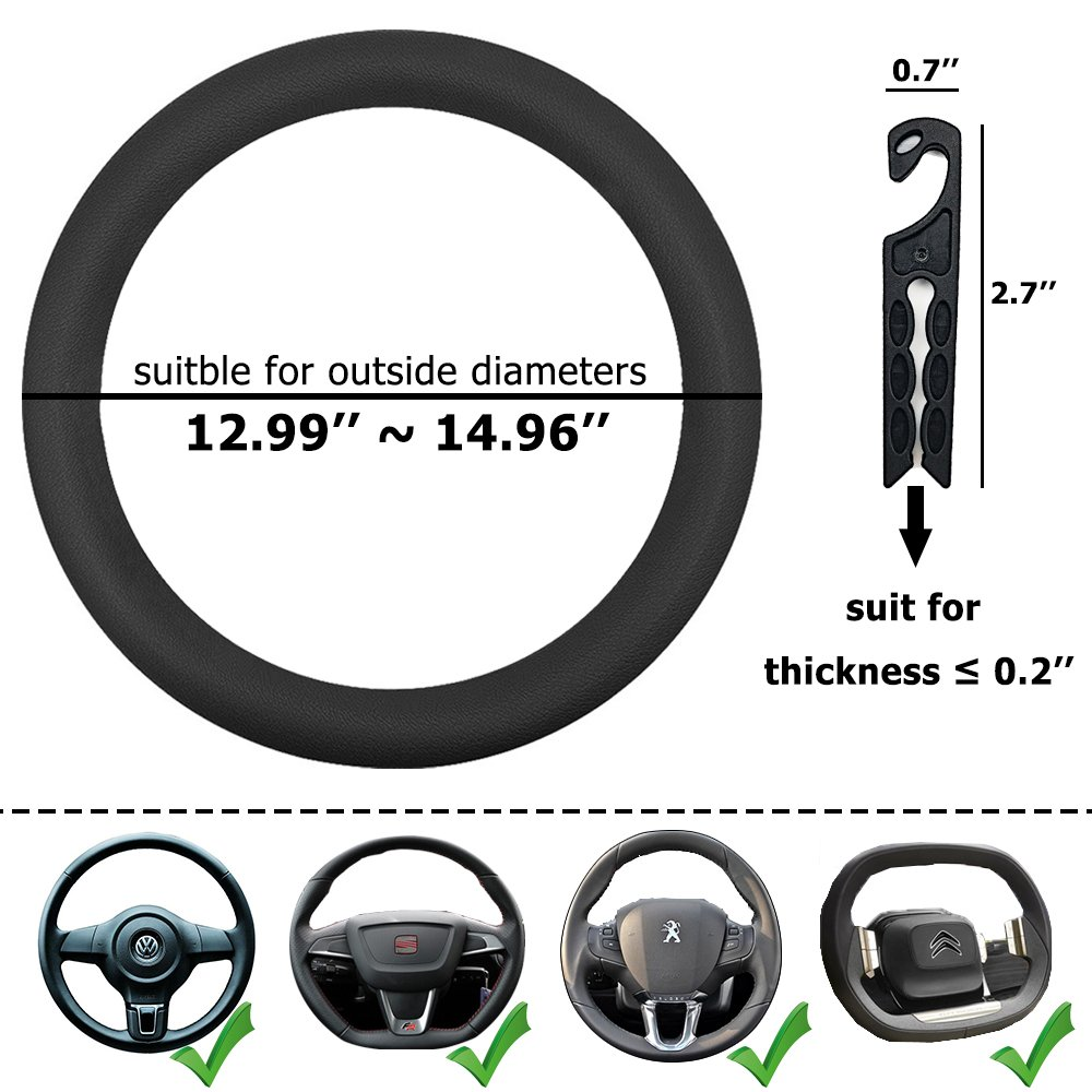 "CNYMANY Direct Black Silicone Auto Car Steering Wheel Cover 13/"" 15/"" with 4 pcs Air Vent Hook"