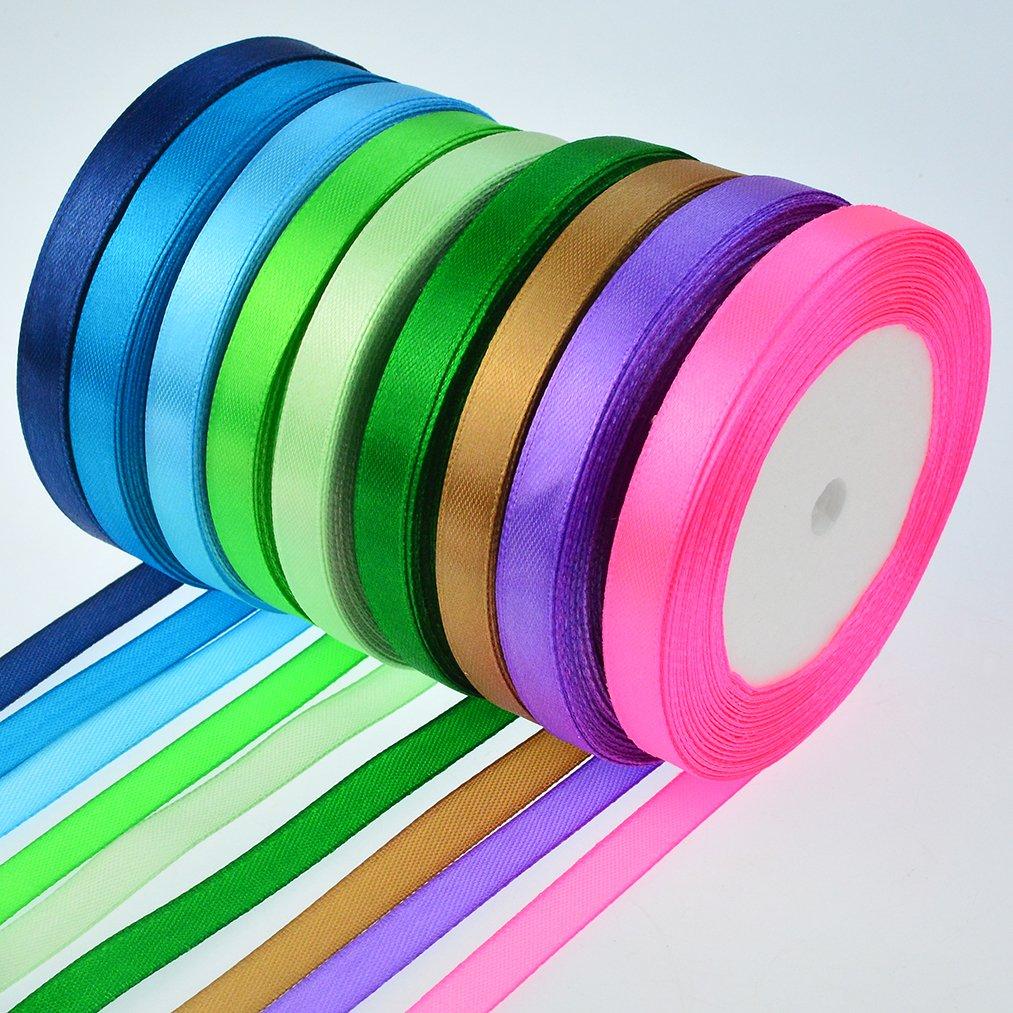 16 Colors 800 Yard Satin Ribbons, baotongle Fabric Ribbon Silk Satin Roll Satin Ribbon Rolls, Satin Ribbon Fabric Ribbon Embellish Ribbon Ribbon for Bows Crafts Gifts Party Wedding 32 Rolls by baotongle (Image #2)
