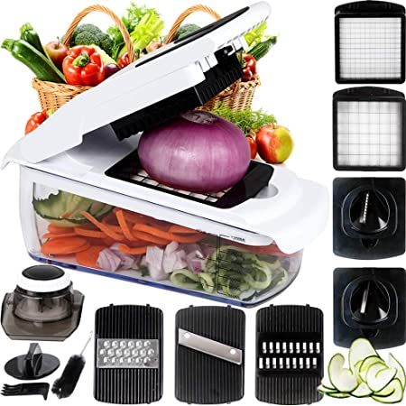 7 In 1 Vegetable And Onion Choppers Mandolin Slicer And Food Dicer Multifunctional Cutter Includes Mandoline Julienne Spiral And Ribbon Slicer