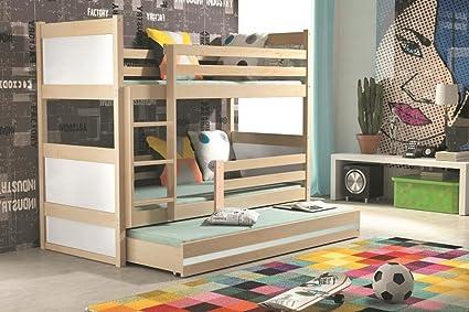 Rico de Los Niños litera con extraíble nido, de madera pino camas para 3 Kids