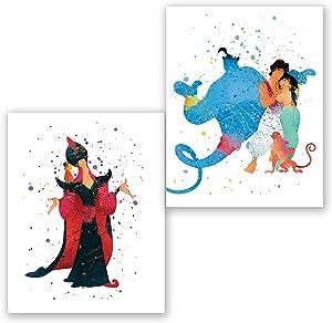 Aladdin Wall Art Posters – Set of 2 Prints – Aladdin Princess Jasmine Genie Jafar Decor – Kids Room – Party Supplies Decoration – Nursery Watercolor Artwork – Birthday (8x10)