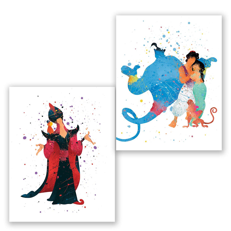 Kids Room Aladdin Princess Jasmine Genie Jafar Decor 8x10 Birthday Set of 2 Prints Aladdin Wall Art Posters Party Supplies Decoration Nursery Watercolor Artwork