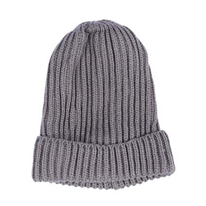 7b0feff90fe Amazon.com  Fashion Ribbed Knitted Wool Ski Cap Winter Warm Solid Color Beanies  Single Layer Cuff Vertical Stripes Hat (Light Grey)  Computers   Accessories