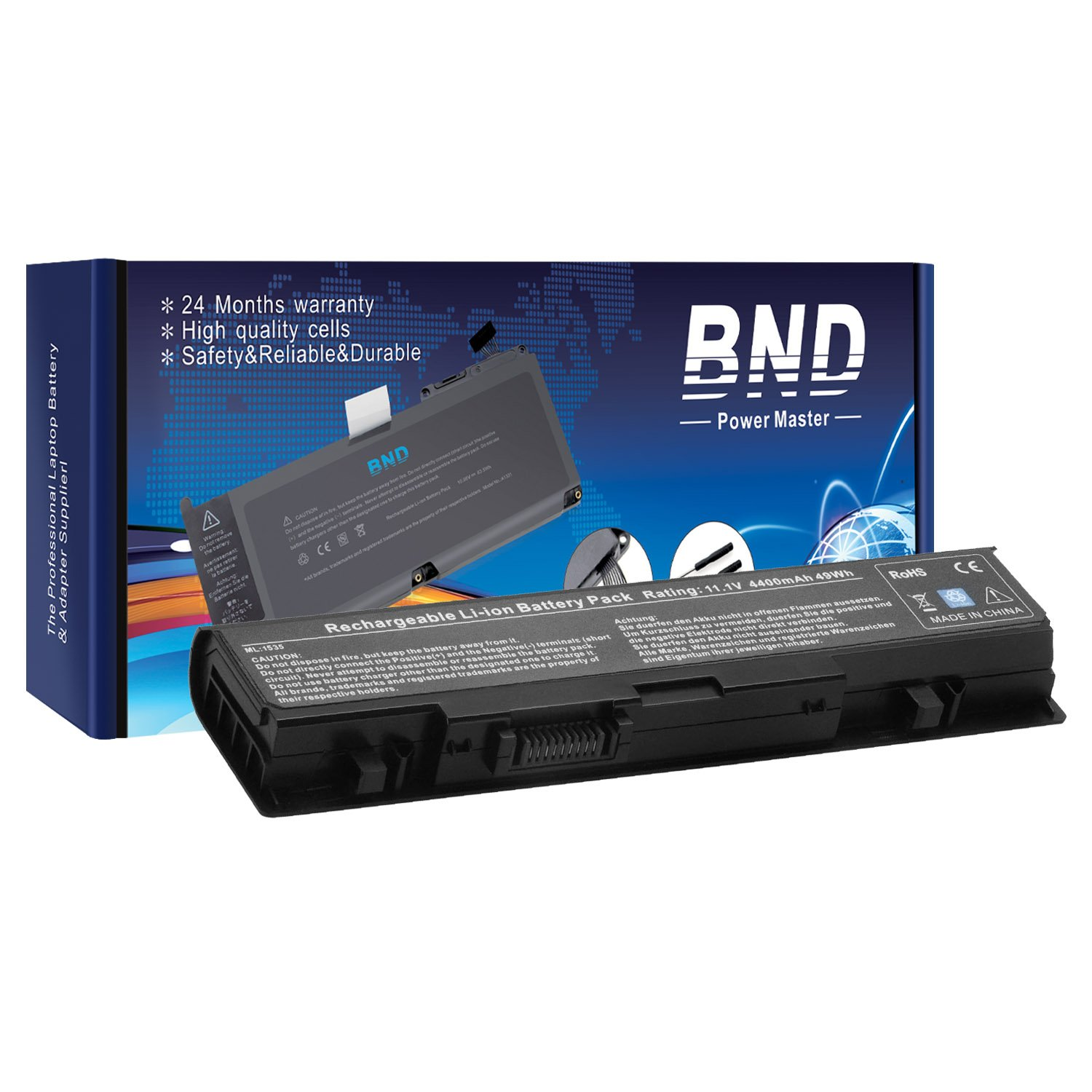BND Laptop Battery for Dell Studio WU946 1558 1555 1537 1535 PP39L PP33L 1536, fits P/N WU946 MT264  - 12 Months Warranty [6-Cell 4400mAh/49Wh]
