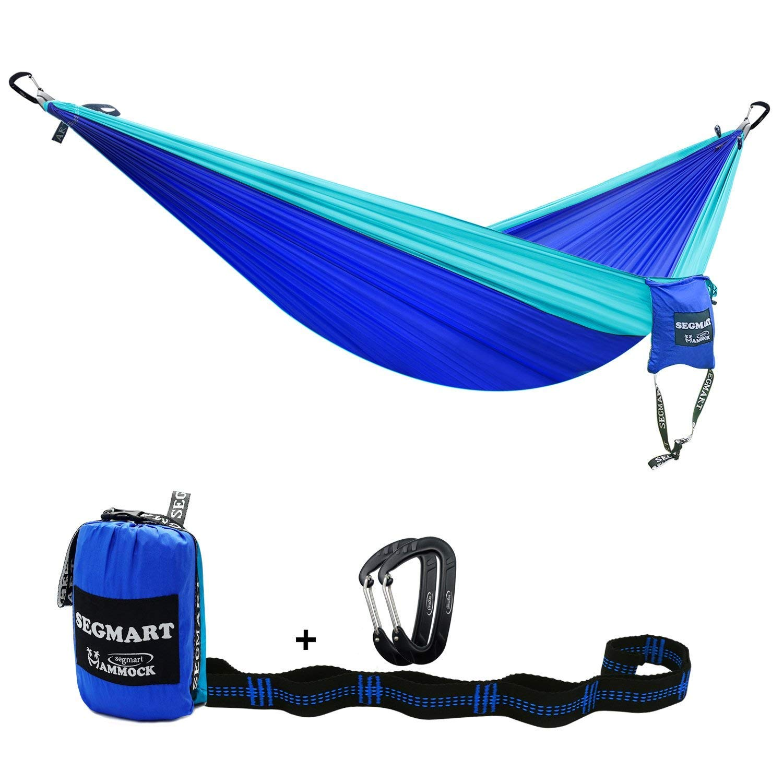 SEGMART Camping Parachute Doublenest Hammock (Blue/Light Blue)