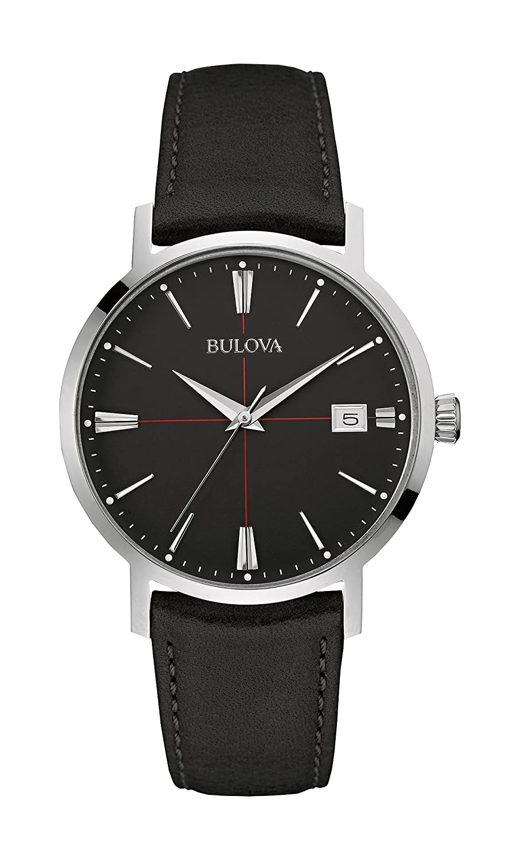 Bulova Classic Aerojet 96B243 - Herren Designer-Armbanduhr - Armband aus Leder - Schwarz