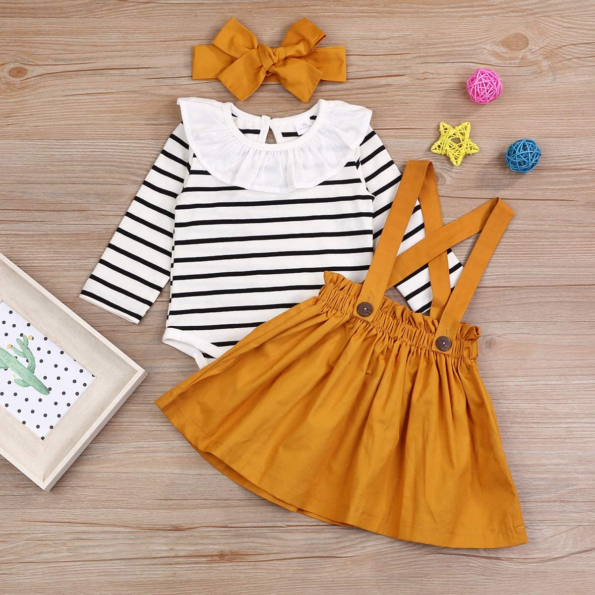 Toddler Little Kid Girls Skirt Outfit T-Shirt Top Overall Suspender Skirt Headband Clothes Set