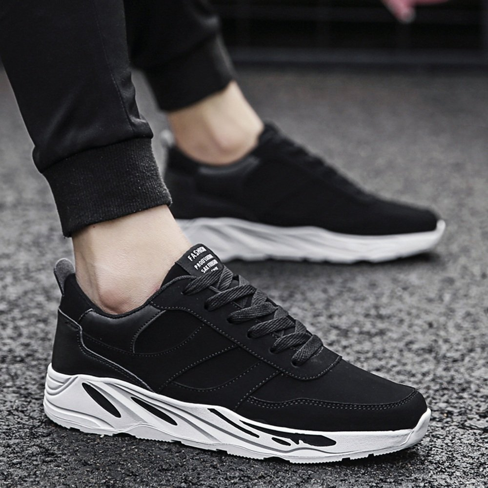 XIAOLIN- Homme Chaussures PU De Microfibre SynthétiqueSimilicuir Polyuréthane Automne Confort Chaussures D\'Athlétisme Course À Pied Pour ( Couleur : Noir , taille : EU/41/UK7.5-8/CN42 )