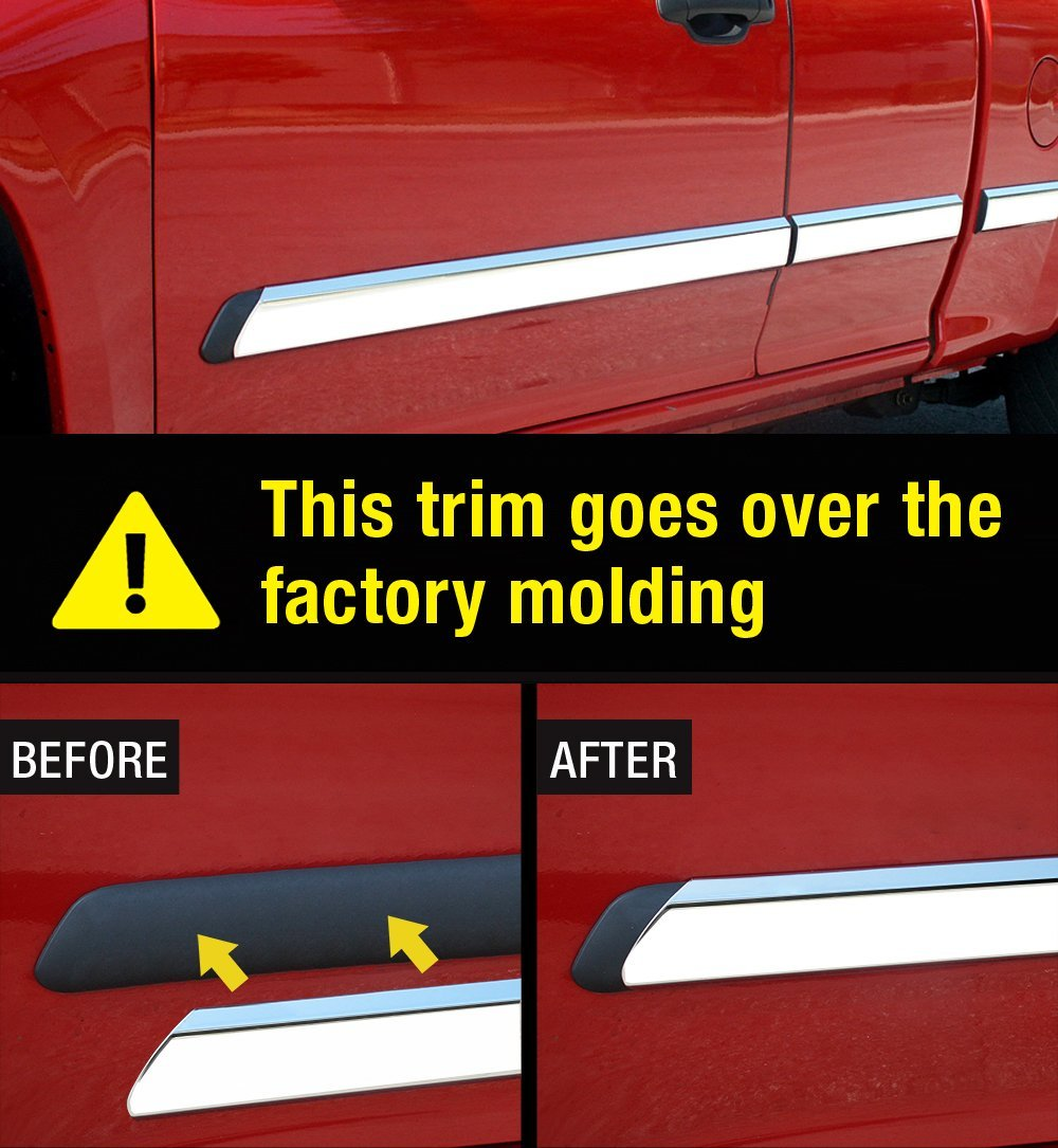 Made in USA Works with 2004-2010 Nissan Armada Rocker Panel Chrome Stainless Steel Body Side Moulding Molding Trim Cover 3 Wide 4PC Overlay