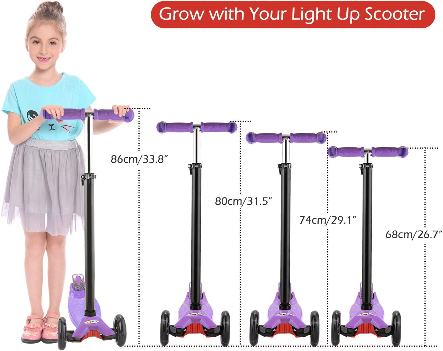 Hikole 3 Wheels Scooter for Toddlers for Aged 3 Lean to Steer LED Light Up PU Wheels Foldable Kids Kick Scooters Adjustable Height Lightweight Construction