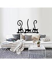 Topgrowth Wall Sticker Tre Gatti Animale Domestico Camera Finestra Adesivo da Parete Decorazione Murale Removibile (Nero)
