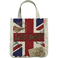 Yilooom London Stamps Union Jack Tote Bags, Craft Bags, Shopping Bags