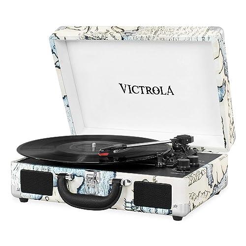 Victrola Suitcase Tocadiscos en maleta Vintage Bluetooth Retro Map