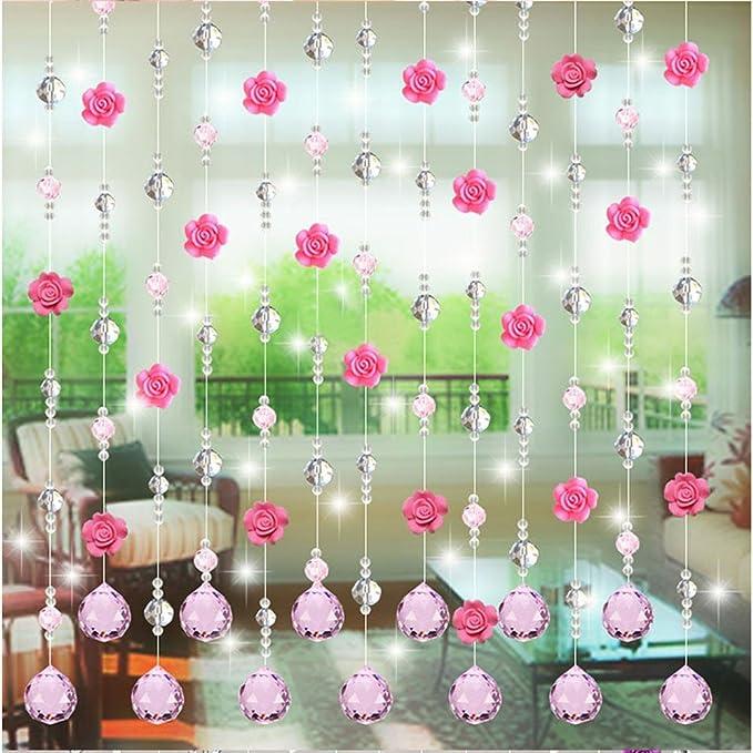 JiaMeng Crystal Glass Rose Bead Cortina Sala Dormitorio Puerta Ventana Boda decoración Pegatinas: Amazon.es: Juguetes y juegos