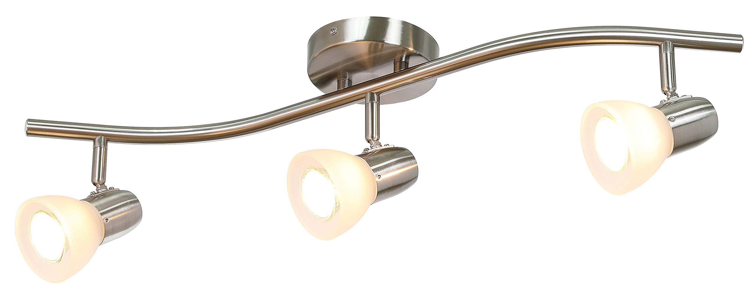 XiNBEi Lighting Track Lighting, 3 Light Track Light, Modern S-Shaped Track Light Bar with GU10 Bulb Brushed Nickel Finish XB-TR1223-3